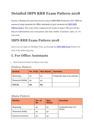 Detailed IBPS RRB Exam Pattern 2018