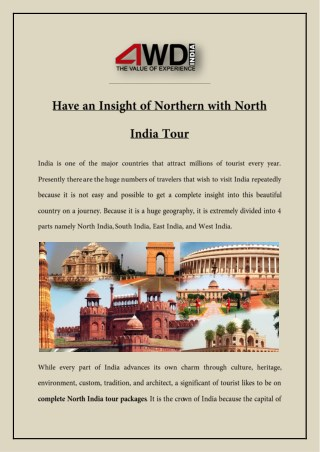 Have an Insight of Northern with North India Tour
