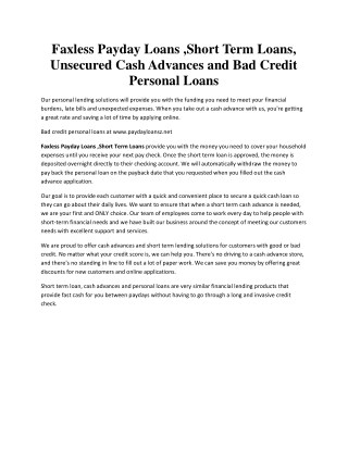 Faxless Payday Loans ,Short Term Loans, Unsecured Cash Advances and Bad Credit Personal Loans - paydayloansz.net