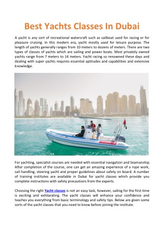 Best Yachts Classes In Dubai