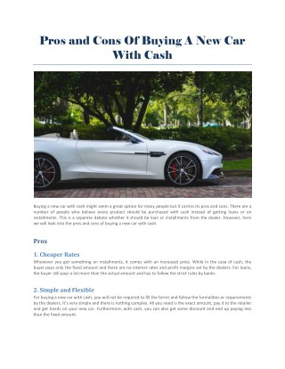 Buying a New Car with Cash