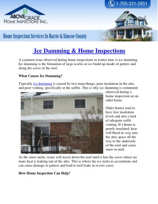 Ice Damming & Home Inspections - Abovegradehomeinspections.ca