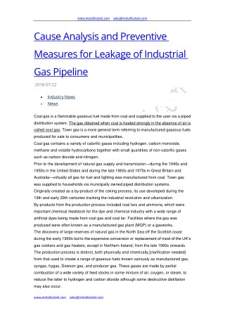 Cause Analysis and Preventive Measures for Leakage of Industrial Gas Pipeline