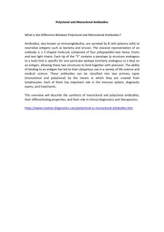 Polyclonal vs. Monoclonal Antibodies