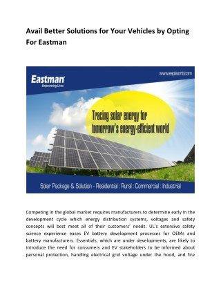 Avail Better Solutions for Your Vehicles by Opting For Eastman