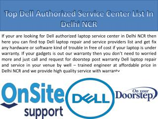 Dell authorized laptop service provider list In Delhi NCR