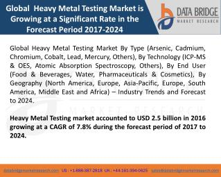 Global Heavy Metal Testing Market- Industry Trends and Forecast to 2024