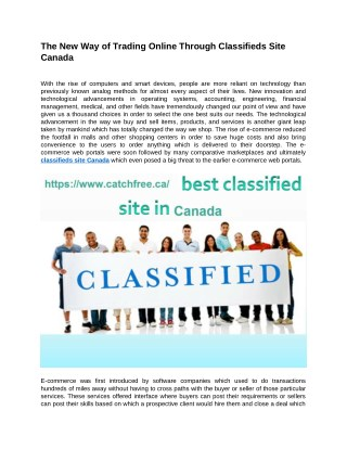 The New Way of Trading Online Through Classifieds Site Canada