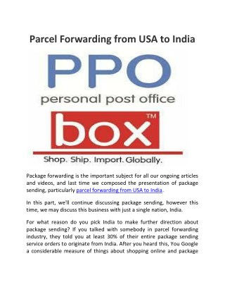 Parcel Forwarding Services from USA in India