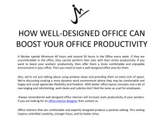 HOW WELL-DESIGNED OFFICE CAN BOOST YOUR OFFICE PRODUCTIVITY