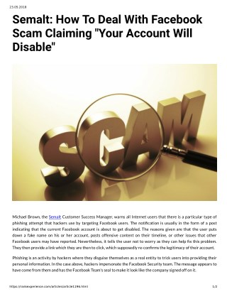 Semalt: How To Deal With Facebook Scam Claiming