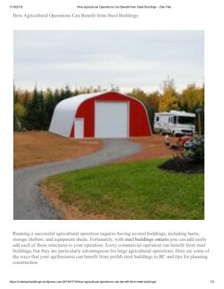 How Agricultural Operations Can Benefit from Steel Buildings
