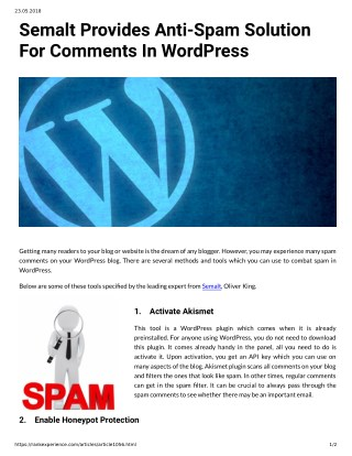 Semalt Provides Anti-Spam Solution For Comments In WordPress