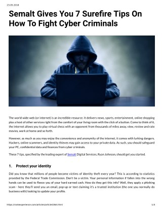 Semalt Gives You 7 Surefire Tips On How To Fight Cyber Criminals