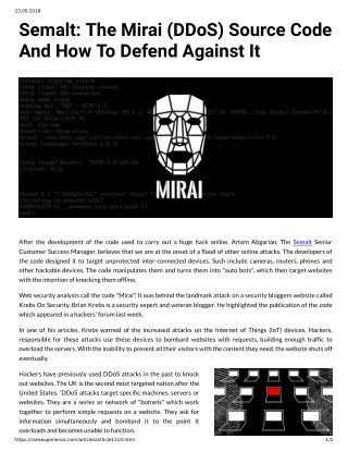 Semalt: The Mirai (DDoS) Source Code And How To Defend Against It
