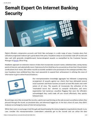 Semalt Expert On Internet Banking Security