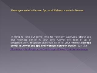 Massage Center In Denver | Spa and Wellness Center In Denver
