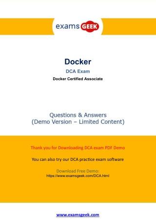 DCA Exam Questions - DOCKER Certified Associate (DCA) Exam Pass With Guarantee