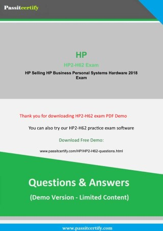 Updated HP2-H62 Exam Questions Demo