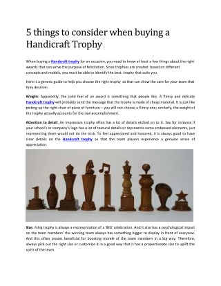 Best Handcrafted Trophies Manufacturers in India  -  Awards & Trophy