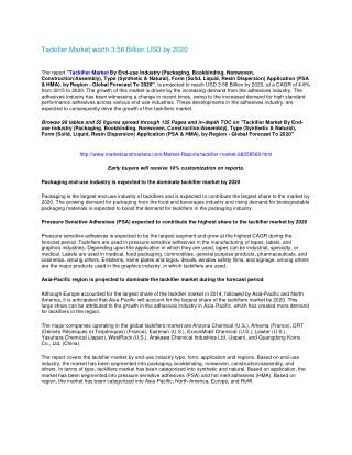Tackifier Market worth 3.56 Billion USD by 2020