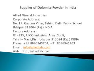 Supplier of Dolomite Powder in India