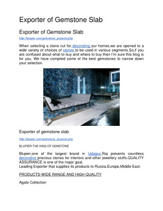 Exporter of gemstone slab