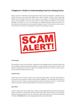 A Guide to Understand Used Cars Buying Scams