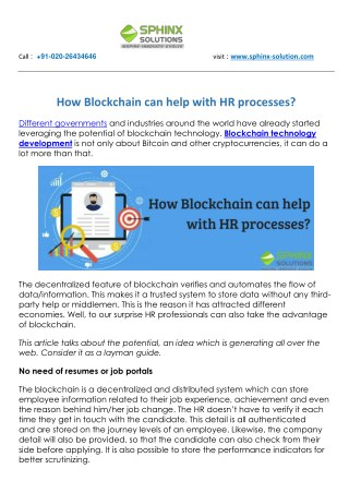 How Blockchain can help with HR processes