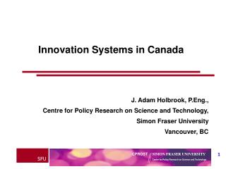 Innovation Systems in Canada