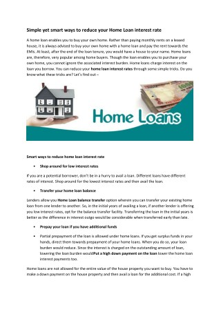 Simple yet smart ways to reduce your Home Loan interest rate