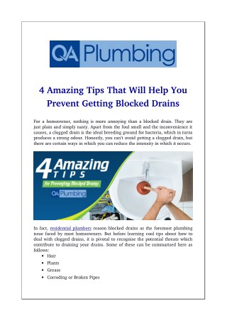 4 Amazing Tips That Will Help You Prevent Getting Blocked Drains