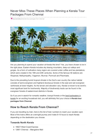 NEVER MISS THESE PLACES WHEN PLANNING A KERALA TOUR PACKAGES FROM CHENNAI