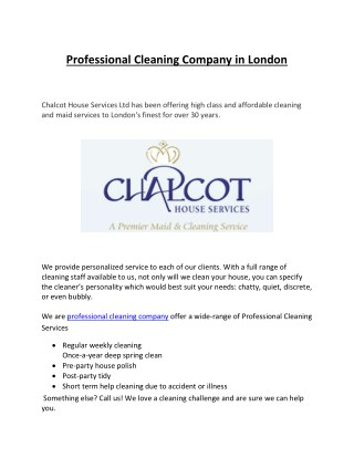 Professional Cleaning Company in London
