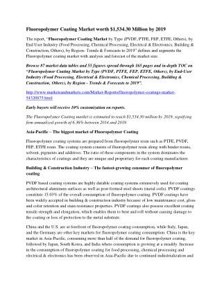 Fluoropolymer Coating Market worth $1,534.30 Million by 2019