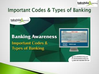 Important Codes & Types of Banking