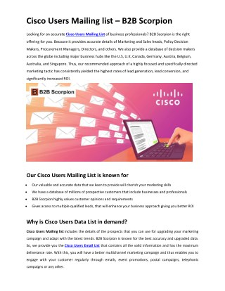 Cisco Users Mailing list | Cisco Users Data List | Cisco Users Email List