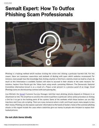 Semalt Expert: How To Outfox Phishing Scam Professionals