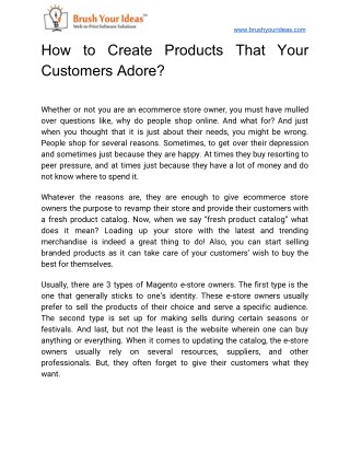 How to Create Products That Your Customers Adore?