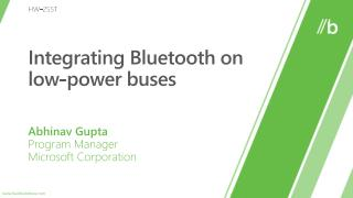 Integrating Bluetooth on low-power buses