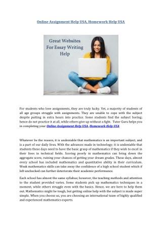 Online Assignment Help USA, Homework Help USA