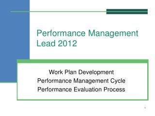 Performance  Management Lead 2012