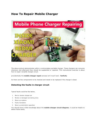 How To Repair Mobile, Iphone Charger - fonfix4u