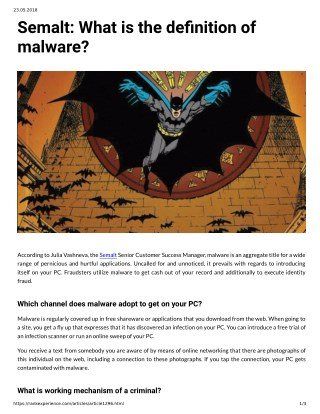 Semalt: What is the denition of malware?