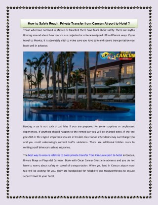 How to Safely Reach Private Transfer from Cancun Airport to Hotel ?