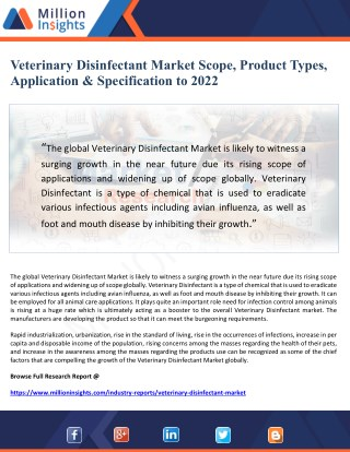 Veterinary Disinfectant Market Scope, Product Types, Application & Specification to 2022