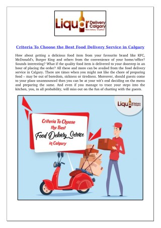 Criteria To Choose the Best Food Delivery Service in Calgary