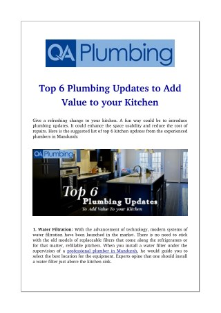 Top 6 Plumbing Updates to Add Value to your Kitchen