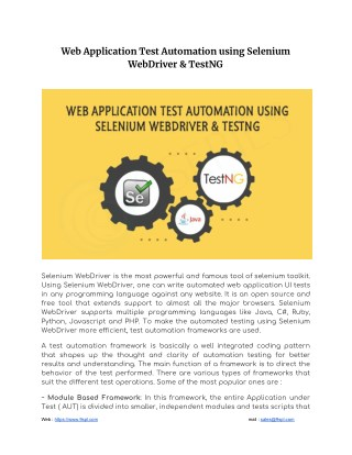 PPT - Web Application Test Automation using Selenium