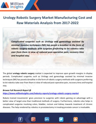 Urology Robotic Surgery Industry Size and Export, Import Analysis 2017-2022